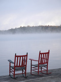 Two Red Rockers on Dock at Sunrise, Lake Mooselookmegontic, Maine Photographic Print by Nance Trueworthy
