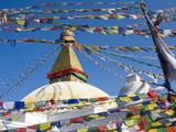 Boudhanath Stupa and Prayer Flags, Kathmandu, Nepal. Photographic Print by Ethan Welty