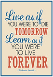Live As If Learn As If Art Gandhi Quote Poster Affiches