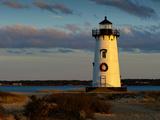 Edgartown Lighthouse at Christmas on Martha's Vineyard at Sunset Fotografisk trykk av James Shive