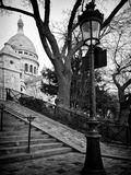 Steps to the Place du Sacré Cœur - Montmartre - Paris - France Fotografisk trykk av Philippe Hugonnard