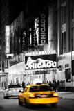 Advertising - Chicago the musical - Yellow Taxi Cabs - Times square - Manhattan - New York City - U Impressão fotográfica por Philippe Hugonnard