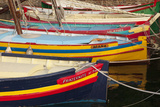 Colorful Sailboats in the Small Harbor of Collioure, Languedoc-Roussillon, France Fotografisk trykk av Brian Jannsen