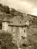Medieval Houses, Aveyron, Conques, France Reproduction photographique par David Barnes