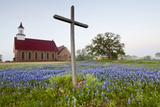 Art Methodist Church and Bluebonnets Near Mason, Texas, USA Reproduction photographique par Larry Ditto