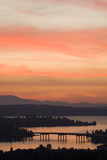 Skyline and Olympic Mountains, Sunset, Lake Washington, Seattle, Washington, USA Photographic Print by John & Lisa Merrill