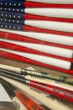 Baseball Bats Made into a Us Flag, Cooperstown, New York, USA Fotografisk tryk af Cindy Miller Hopkins