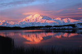 Lake with Mt McKinley, Denali National Park and Preserve, Alaska, USA Photographic Print by Hugh Rose