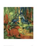 Deer in the forest II 1914 Giclée-tryk af Franz Marc