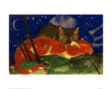 Two Cats 1913 Giclée-tryk af Franz Marc