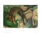 Cats Playing Giclée-tryk af Franz Marc