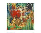 Deer in the Forest I Giclée-tryk af Franz Marc