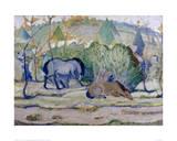 Horses in a Landscape Reproduction procédé giclée par Franz Marc