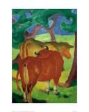 Cows under trees Giclée-tryk af Franz Marc