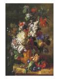 Bouquet Of Flowers In An Urn Premium Giclée-tryk af Jan van Huysum