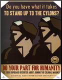Battlestar Galactica Do Your Part for Humanity TV Poster Print Affiche montée sur bois