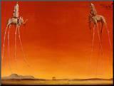 Les éléphants, 1948 Affiche montée sur bois par Salvador Dalí