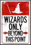 Wizards Only Beyond This Point Sign Poster Affiche montée sur bois