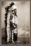 Chief White Cloud (Native American Wisdom) Art Poster Print Affiche montée sur bois