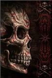 Spiral (Skull Tattoo) Art Print Poster Druck aufgezogen auf Holzplatte