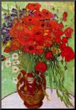 Vincent Van Gogh Still Life Red Poppies and Daisies Art Print Poster Impressão montada