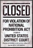 Prohibition Act Closed Sign Notice Poster Mounted Print