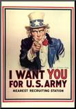 I Want You for U.S. Army Uncle Sam WWII War Propaganda Art Print Poster Impressão montada