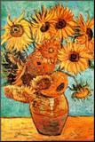 Vincent Van Gogh Vase with Twelve Sunflowers Art Print Poster Kunst op hout