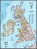 Mapa da Bretanha e Irlanda Impressão montada