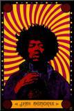 Jimi Hendrix - Psychedelic Druck aufgezogen auf Holzplatte