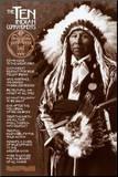 Les Dix Commandements indiens Affiche montée sur bois