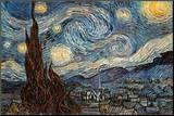 星月夜(糸杉と村) 1889年 パネルプリント : フィンセント・ファン・ゴッホ