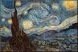 Stjärnklar natt, ca 1889 Print på trä av Vincent van Gogh