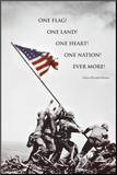 American Flag at Iwo Jima Impressão montada