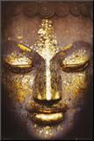 Buddha Druck aufgezogen auf Holzplatte