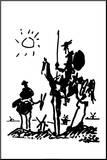 Don Quijote Druck aufgezogen auf Holzplatte von Pablo Picasso