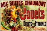 Reclameposter speelgoed, Franse tekst: Jouets Kunst op hout