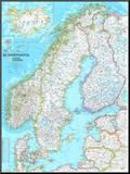 Karte von Skandinavien Druck aufgezogen auf Holzplatte