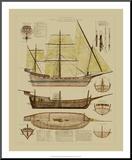 Antique Ship Plan II Impressão montada