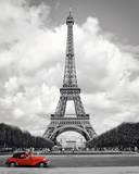 Paris - rotes Auto Poster
