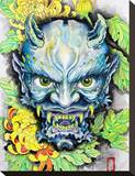 Blue Oni Stretched Canvas Print by Clark North