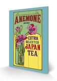 Anemone Brand Tea Cartel de madera