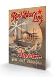 Red Star Cruise Line: Antwerp, New York, and Philadelphia Wood Sign by C. Satzmann