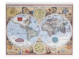 17th Century Map of the World Reproduction giclée Premium