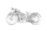 Motorcycle Sketch I Posters tekijänä Megan Meagher