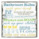 Bathroom Rules Multi Print by Taylor Greene