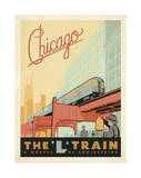 Chicago: The 'L' Train Reproduction procédé giclée par  Anderson Design Group