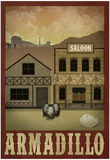Armadillo Retro Travel Poster Poster