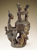 Bowl with Figures - Sculptor to Kings, Olowe of Ise; National Museum of African Art Fotografisk tryk