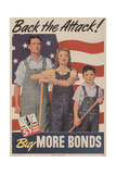 Military and War Posters: Back the Attack! Buy More Bonds! U.S. Government Printing Office, 1944 高品質プリント